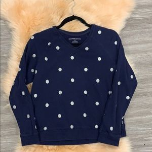 Crew neck sweatshirt with metallic polka dots
